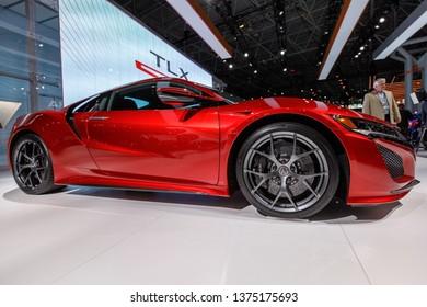 New York, NY / USA - 04 17 2019: International New York Auto Show 2019, Jacob Javits center, HONDA NSX