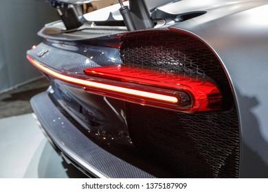 New York, NY / USA - 04 17 2019: International New York Auto Show 2019, Jacob Javits center, new supercar Bugatti Chiron