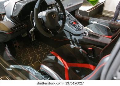 New York, NY / USA - 04 17 2019: International New York Auto Show 2019, Jacob Javits center, Lamborghini supercar
