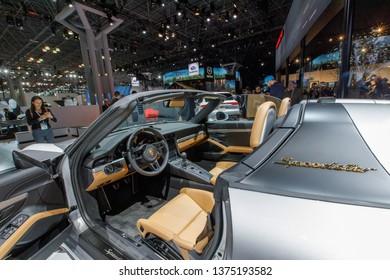 New York, NY / USA - 04 17 2019: International New York Auto Show 2019, Jacob Javits center, Porsche 911 speedster interior, world premier.