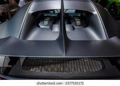 New York, NY / USA - 04 17 2019: International New York Auto Show 2019, Jacob Javits center, new Bugatti Chiron exterior, supercar.