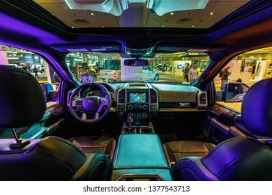 New York, NY / USA - 04 17 2019: International New York Auto Show 2019, Jacob Javits center, new Ford truck interior