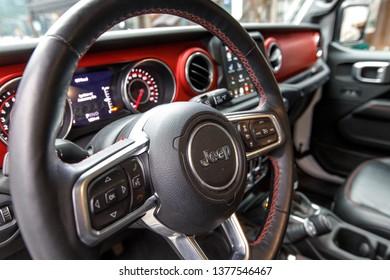 New York, NY / USA - 04 17 2019: International New York Auto Show 2019, Jacob Javits center, new Jeep Wrangler 2019 interior