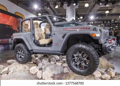 New York, NY / USA - 04 17 2019: International New York Auto Show 2019, Jacob Javits center, New Jeep Wrangler Rubicon.
