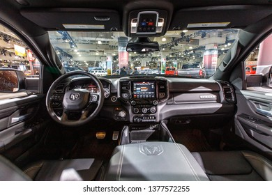 New York, NY / USA - 04 17 2019: International New York Auto Show 2019, Jacob Javits center, New Dodge Ram interior
