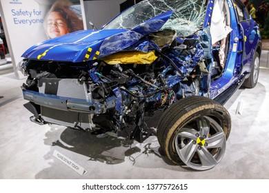 New York, NY / USA - 04 17 2019: International New York Auto Show 2019, Jacob Javits center, crashed car