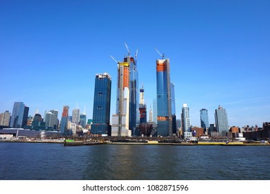 New York, NY / USA - 04.13.2018: Construction of the Hudson Yards from the Hudson river