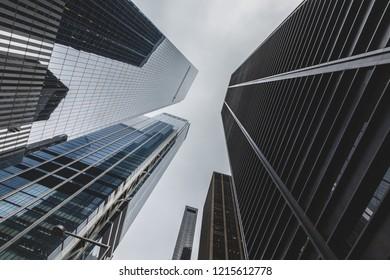 New York, NY / USA - 10 14 2018: tower crane on Manhattan, skyscraper construction.