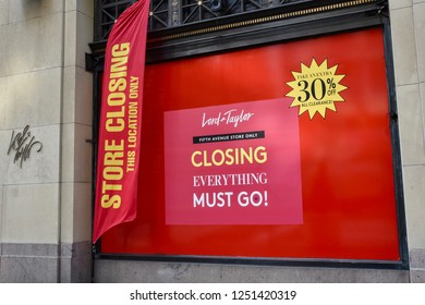 New York, NY, USA, 12/2/2018: Famous flagship Lord & Taylor Department Store sign closing business