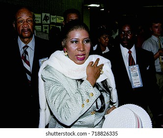 New York, NY. USA, 14th July, 1992Aretha Franklin at  the Democratic National Nominating Convention in Madison Square Garden.