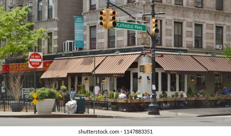 New York, NY/ USA- 5-4-18: NYC Morningside Heights Cathedral Parkway Street and Amsterdam New York City Restaurant Eats Dining Food Avenue