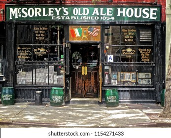 "New York, NY / USA - 6/4/15: McSorley's Old Ale House (1854), the oldest Irish tavern in New York, was one of the last ""Men Only"" pub, only admitting women after legally being forced to do so in 1970."