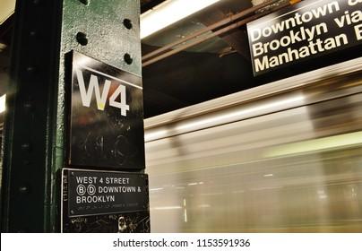 New York, NY/ USA- 7-31-18: New York Subway West 4th Station MTA Train New York City Downtown Subway Platform
