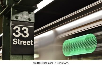 New York, NY/ USA: 9-17-18- New York Subway Station Platform 6 Train Manhattan NYC Transit Transportation
