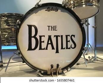New York, NY / USA - 9-28-19: Ringo Starr's drum kit, Metropolitan Museum of Art