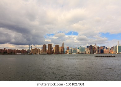 NEW YORK, NY / USA - 9/30/2017: View of Manhattan from the East River