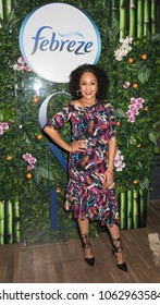 New York, NY, USA - April 5, 2018: Febreze has partnered with celebrity actress and mom, Tamera Mowry-Housley, to film the ONE Happy Home video series at Cliqk Showroom, NYC.