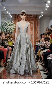NEW YORK, NY, USA - APRIL 12, 2018: A model walks runway for the Theia Spring 2019 collection during New York Bridal Week at the Theia Showroom, Manhattan