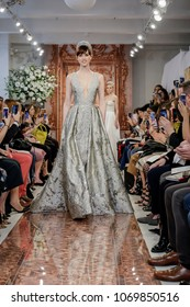 NEW YORK, NY, USA - APRIL 12, 2018: Models walk runway for Theia Spring 2019 collection during New York Bridal Week at the Theia Showroom, Manhattan