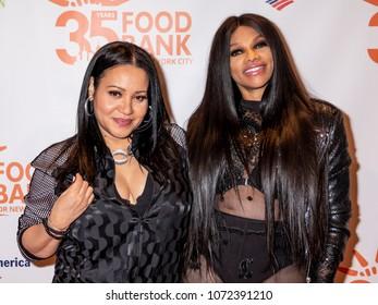 New York, NY, USA - April 17, 2018: Cheryl James and Sandra Denton of Salt-N-Pepa attend the Food Bank for New York City's Can Do Awards Dinner at Cipriani Wall Street, Manhattan