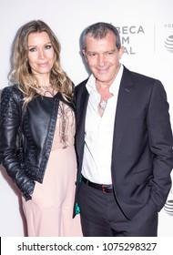 New York, NY, USA - April 20, 2018: Nicole Kimpel and Antonio Banderas attend screening of 'Genius: Picasso' during the 2018 Tribeca Film Festival at BMCC Tribeca PAC, Manhattan