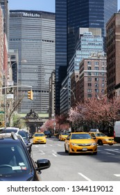 NEW YORK, NY, USA - APRIL 22, 2015: Park Avenue view at spring time in NYC seen  in New York City.