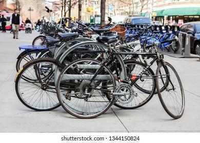 NEW YORK, NY, USA - APRIL 16,2015: Bikes and Citibike parking near Greenwich street.