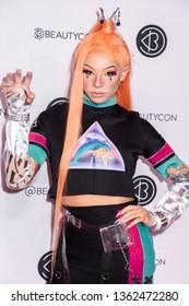 New York, NY, USA - April 6, 2019: Clawdeenas attends Beautycon Festival NYC 2019 at Jacob K. Javits Convention Center, Manhattan
