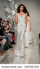 New York, NY, USA - April 11, 2019: Models walk runway for the Theia Bridal Spring 2020 collection during New York Bridal Week at the Theia Showroom, Manhattan