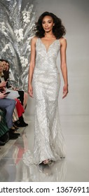 New York, NY, USA - April 11, 2019: A model walks runway for the Theia Bridal Spring 2020 collection during New York Bridal Week at the Theia Showroom, Manhattan