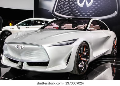 NEW YORK, NY, USA - APRIL 17, 2019: Infiniti Q Inspiration shown at the New York International Auto Show 2019, at the Jacob Javits Center. This was Press Preview Day One of NYIAS