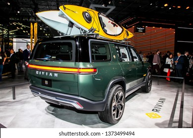 NEW YORK, NY, USA - APRIL 17, 2019: Rivian R1S is new electric vehicle shown at the New York International Auto Show 2019, at the Jacob Javits Center. This was Press Preview Day One of NYIAS