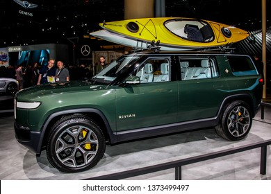 NEW YORK, NY, USA - APRIL 17, 2019: Rivian is new electric vehicle shown at the New York International Auto Show 2019, at the Jacob Javits Center. This was Press Preview Day One of NYIAS