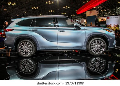 NEW YORK, NY, USA - APRIL 17, 2019: Toyota Highlandr Platinum shown at the New York International Auto Show 2019, at the Jacob Javits Center. This was Press Preview Day One of NYIAS