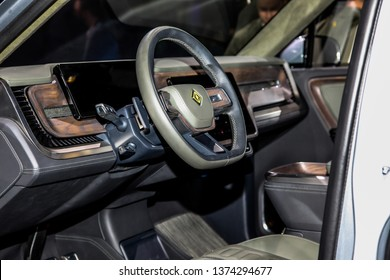 NEW YORK, NY, USA - APRIL 17, 2019: Rivian R1T Pickup truck is an all electric vehicle shown at the New York International Auto Show 2019, at the Jacob Javits Center. Press Preview Day One of NYIAS