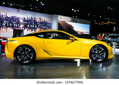 NEW YORK, NY, USA - APRIL 17, 2019: Lexus LC shown at the New York International Auto Show 2019, at the Jacob Javits Center. This was Press Preview Day One of NYIAS