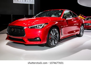 NEW YORK, NY, USA - APRIL 17, 2019: Infiniti Q60-S shown at the New York International Auto Show 2019, at the Jacob Javits Center. This was Press Preview Day One of NYIAS