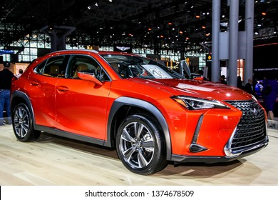 NEW YORK, NY, USA - APRIL 17, 2019:  Lexus UX 200 shown at the New York International Auto Show 2019, at the Jacob Javits Center. This was Press Preview Day One of NYIAS