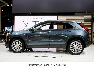 NEW YORK, NY, USA - APRIL 17, 2019: Cadillac XT4  at the New York International Auto Show 2019, at the Jacob Javits Center. This was Press Preview Day One of NYIAS