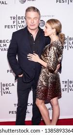 "New York, NY, USA - April 30, 2019: Alec Baldwin and  Hilaria attend premiere of ""Framing John DeLorean"" during 2019 Tribeca Film Festival at SVA Theater, Manhattan"