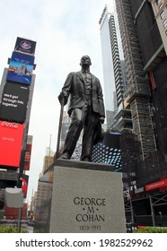 New York, NY, USA - April 23, 2020: Monument to George M. Cohan, American entertainer, playwright, composer, lyricist, actor, singer, dancer and theatrical producer, in Times Square
