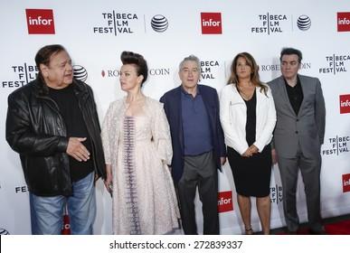 New York, NY, USA - April 25, 2015: (L-R) Paul Sorvino, Debi Mazar, Robert De Niro, Lorraine Bracco, Kevin Corrigan attend 2015 TFF closing night, 25th anniversary of Goodfellas at Beacon Theatre