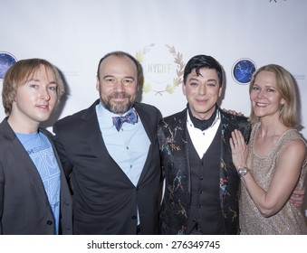 New York, NY, USA - April 30, 2015: Malan Breton with friends attend world premiere of documentary film 'A Journey to Taiwan' during NYC International Film Festival at the DGA Theatre, Manhattan