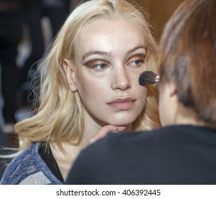 New York, NY, USA - April 17, 2015: A model prepares backstage for RIVINI & Alyne Spring 2017 Bridal Collection at The Standart, High Line during New York International Bridal week, Manhattan
