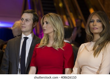 New York, NY USA - April 19, 2016: Jared Kushner, Ivanka Trump, Melania Trump attend Donald Trump victory celebration at Trump Tower on 5th Avenue