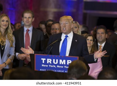 New York, NY USA - April 26, 2016: Donald Trump speaks during victory celebration after winning in 5 US states primary at Trump Tower on 5th Avenue