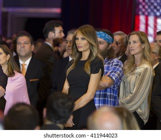 New York, NY USA - April 26, 2016: Melania Trump watches as Donald Trump speaks during victory celebration after winning in 5 US states primary at Trump Tower on 5th Avenue