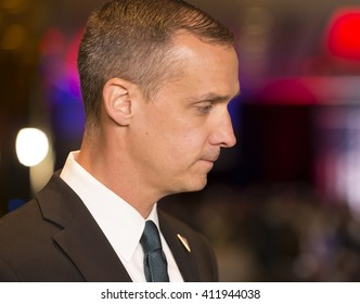 New York, NY USA - April 26, 2016: Corey Lewandowski attends Donald Trump speech during victory celebration after winning in 5 US states primary at Trump Tower on 5th Avenue