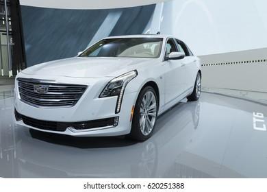 New York, NY USA - April 12, 2017: Cadillac CT6 car unveiled at 2017 New York International Auto Show at Jacob Javits Center