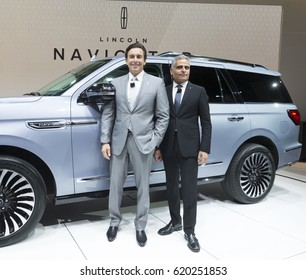New York NY USA - April 12, 2017: Mark Fields President of Ford & Kumar Galhotra President of Lincoln introduce Lincoln Navigator concept car at New York International Auto Show at Jacob Javits Center